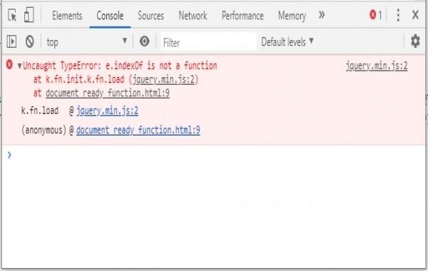 Uncaught TypeError: e.indexOf is not a function in JQuery