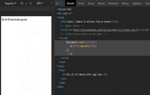 Remove id attribute from an element using jquery